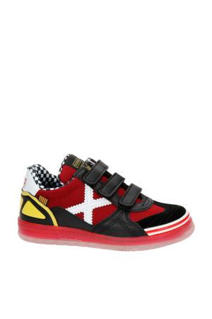 leren sneakers rood/zwart