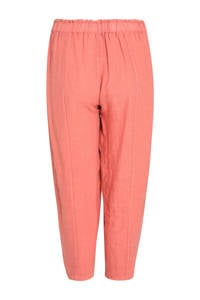 Paprika linnen cropped loose fit broek met pailletten roze, Roze