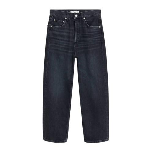 Mango cropped high waist loose fit jeans grijs