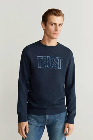 sweater met logo marineblauw