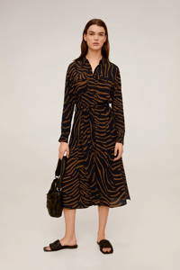 Mango jurk met zebraprint zwart/bruin, Zwart/bruin