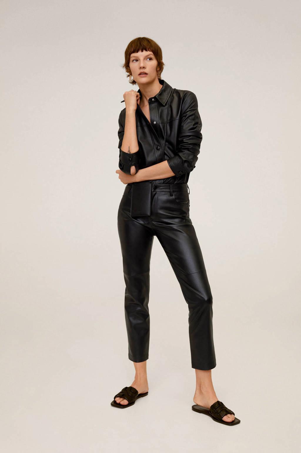 Mango coated high waist slim fit broek zwart, Zwart