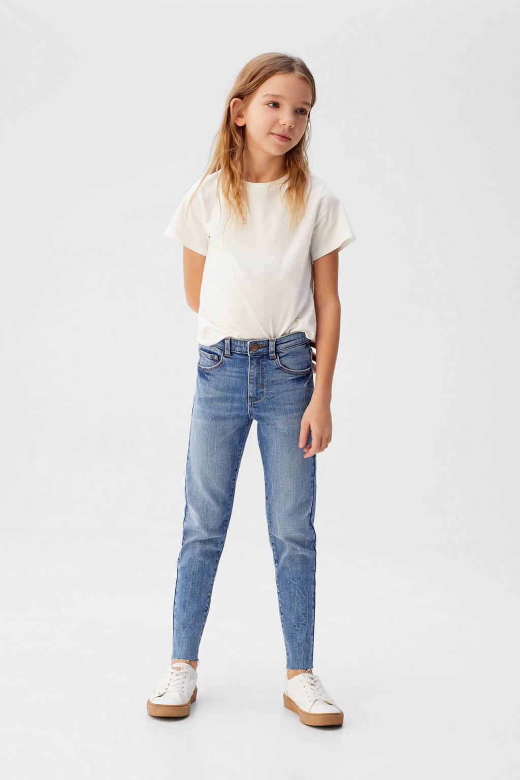 Mango Kids high waist slim fit jeans blauw, Blauw