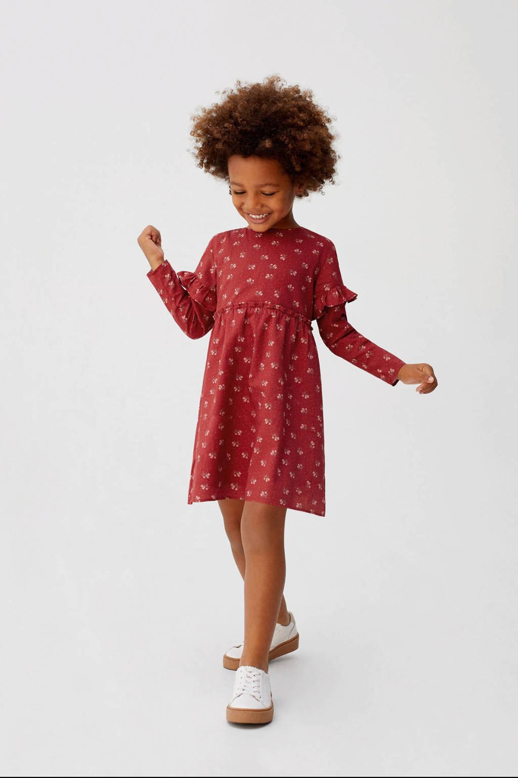 Mango Kids gebloemde A-lijn jurk donkerrood, Donkerrood