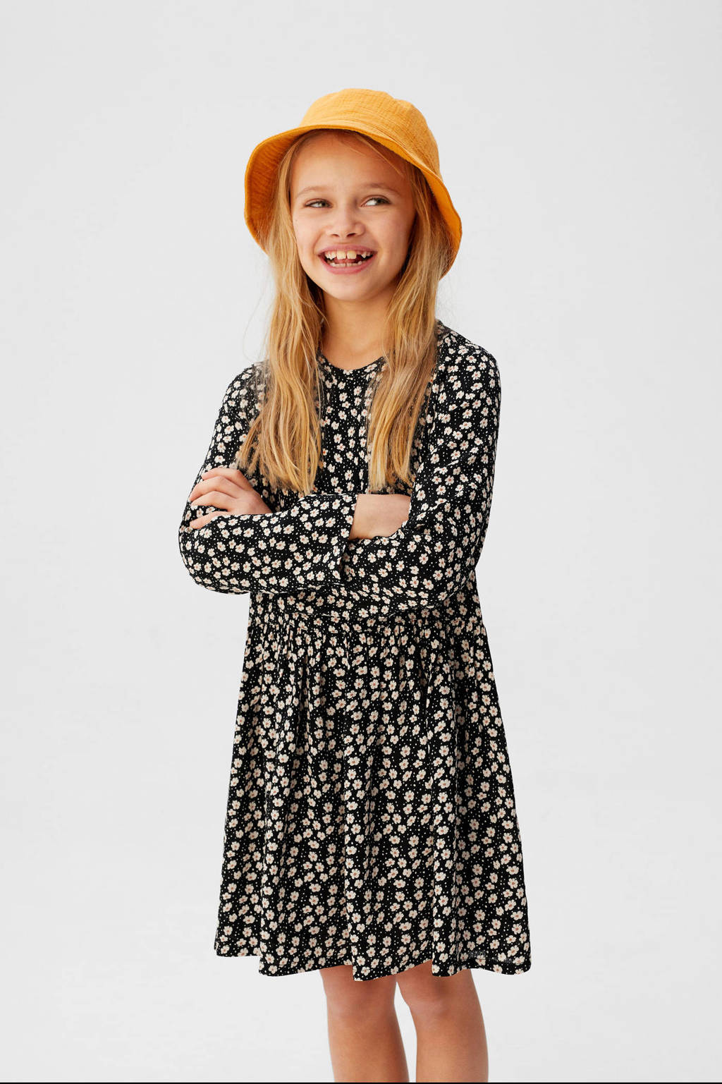 Mango Kids gebloemde A-lijn jurk zwart/wit, Zwart/wit