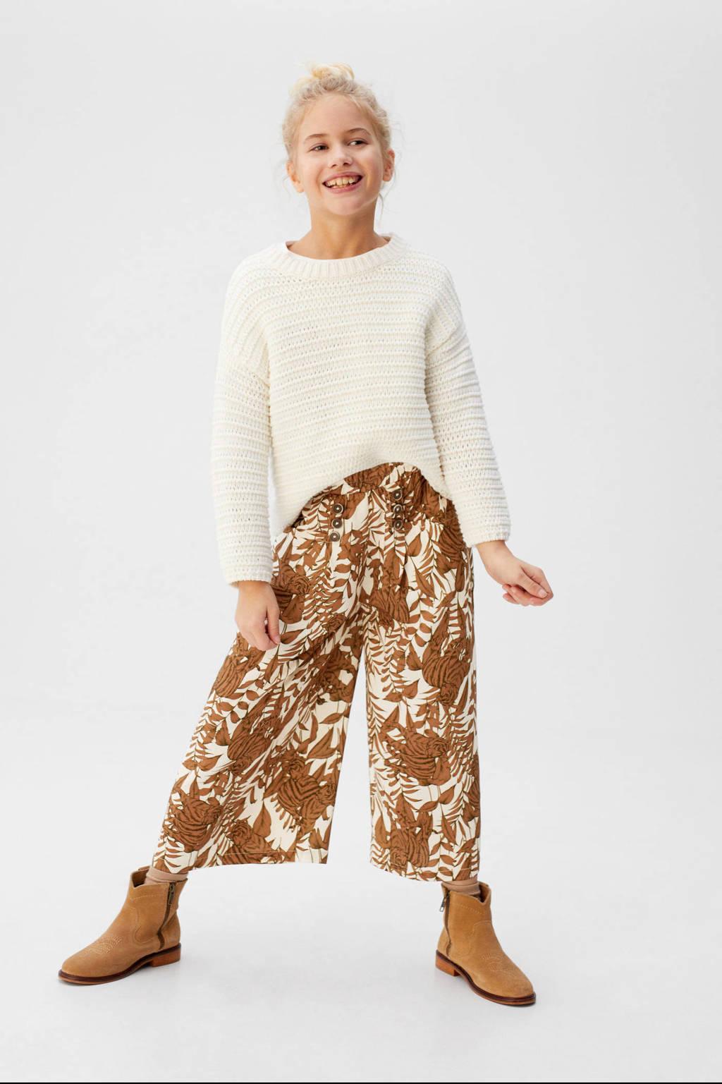 Mango Kids loose fit broek met bladprint bruin/wit, Bruin/wit