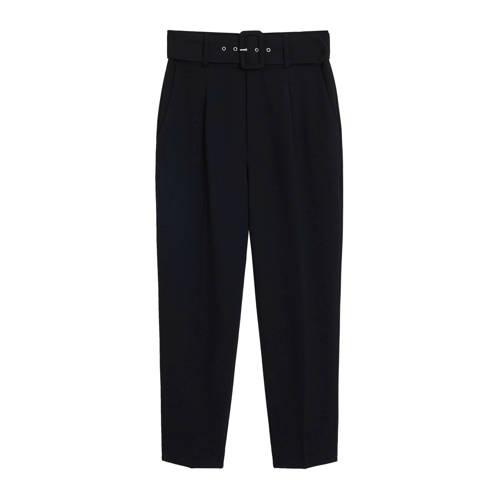 Mango high waist straight fit broek zwart