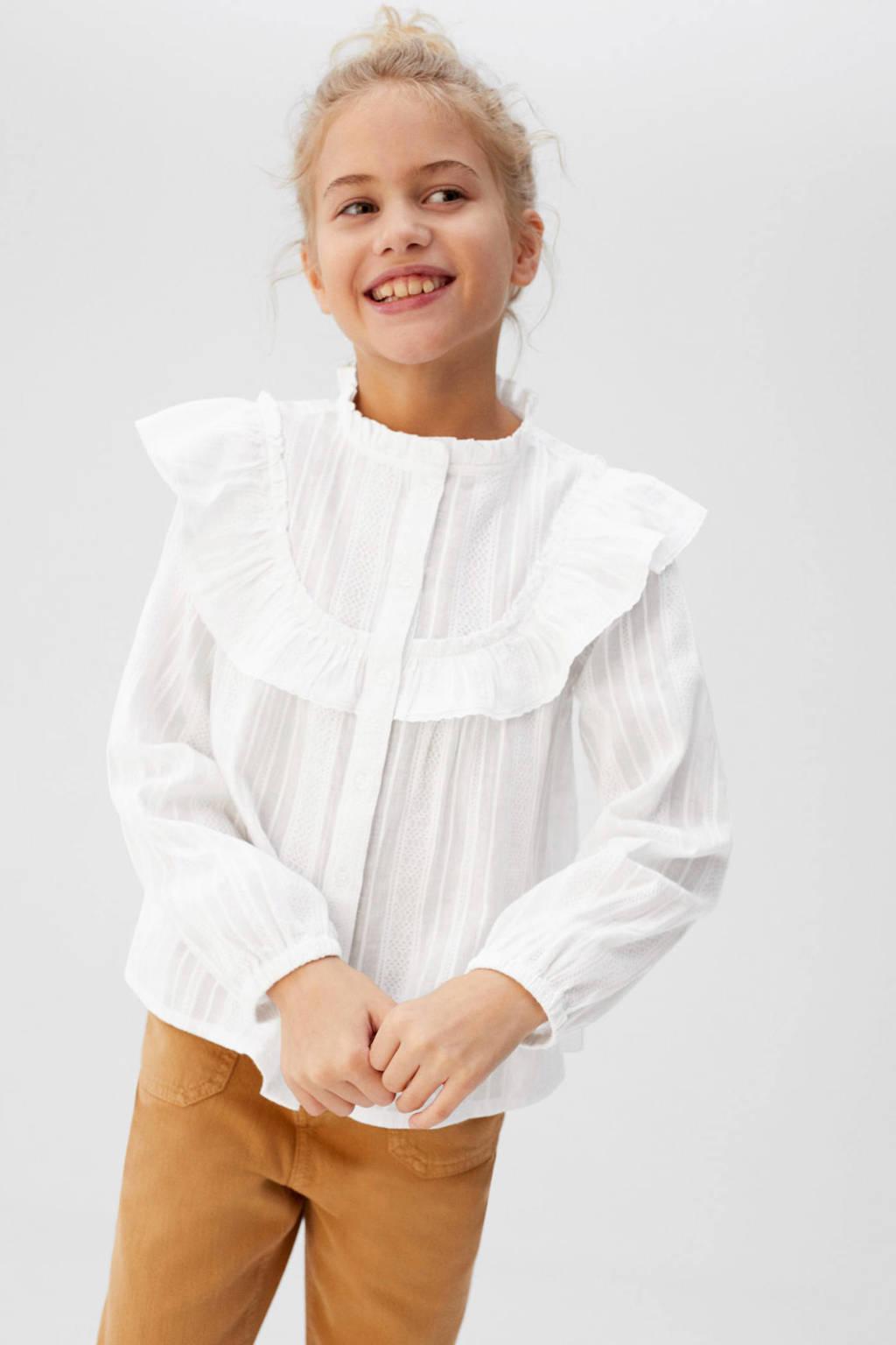 Mango Kids blouse wit met volant, Wit