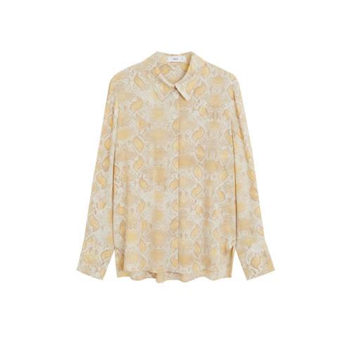Mango blouse met slangenprint zand