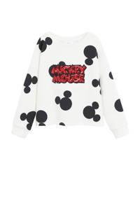 Mango Kids Mickey Mouse sweater met all over print en pailletten wit/zwart/rood, Wit/zwart/rood