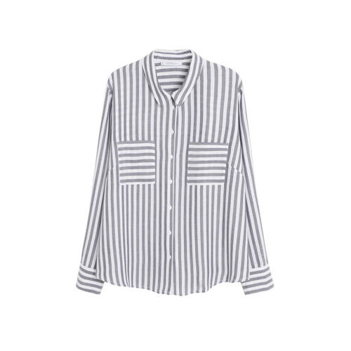 Violeta by Mango gestreepte blouse grijs