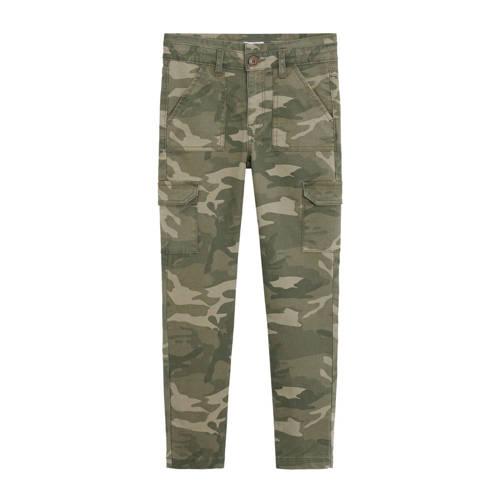 Mango Kids skinny cargo broek met camouflageprint