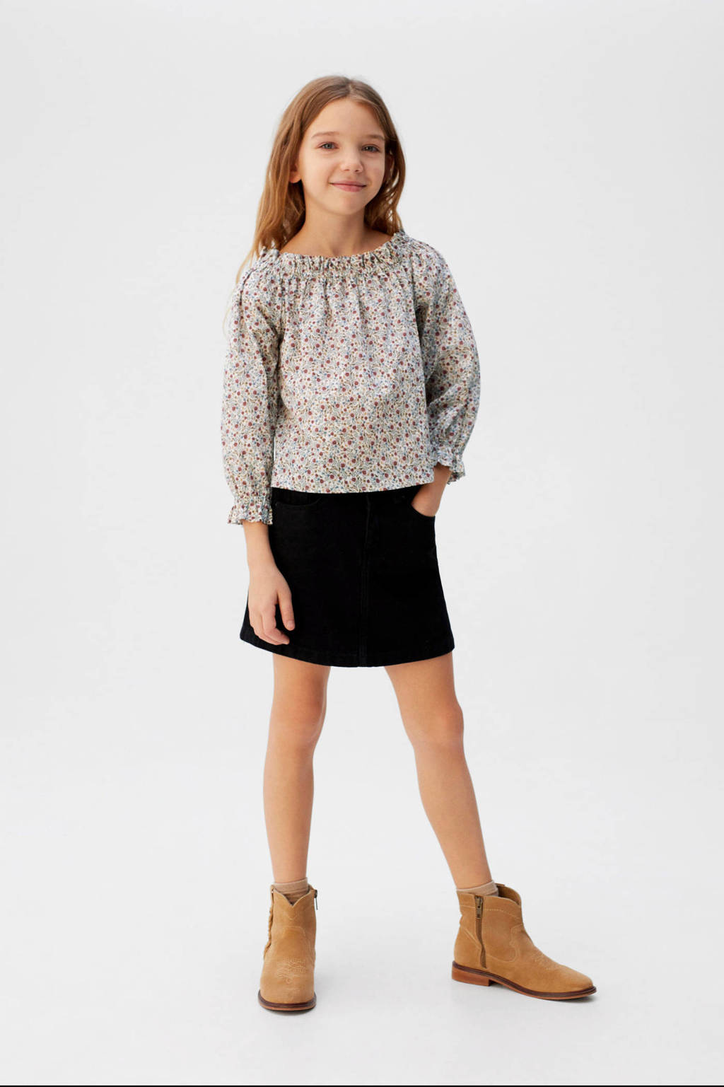 Mango Kids gebloemde top wit/multi, Wit/multi