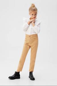 Mango Kids high waist straight fit broek beige, Beige