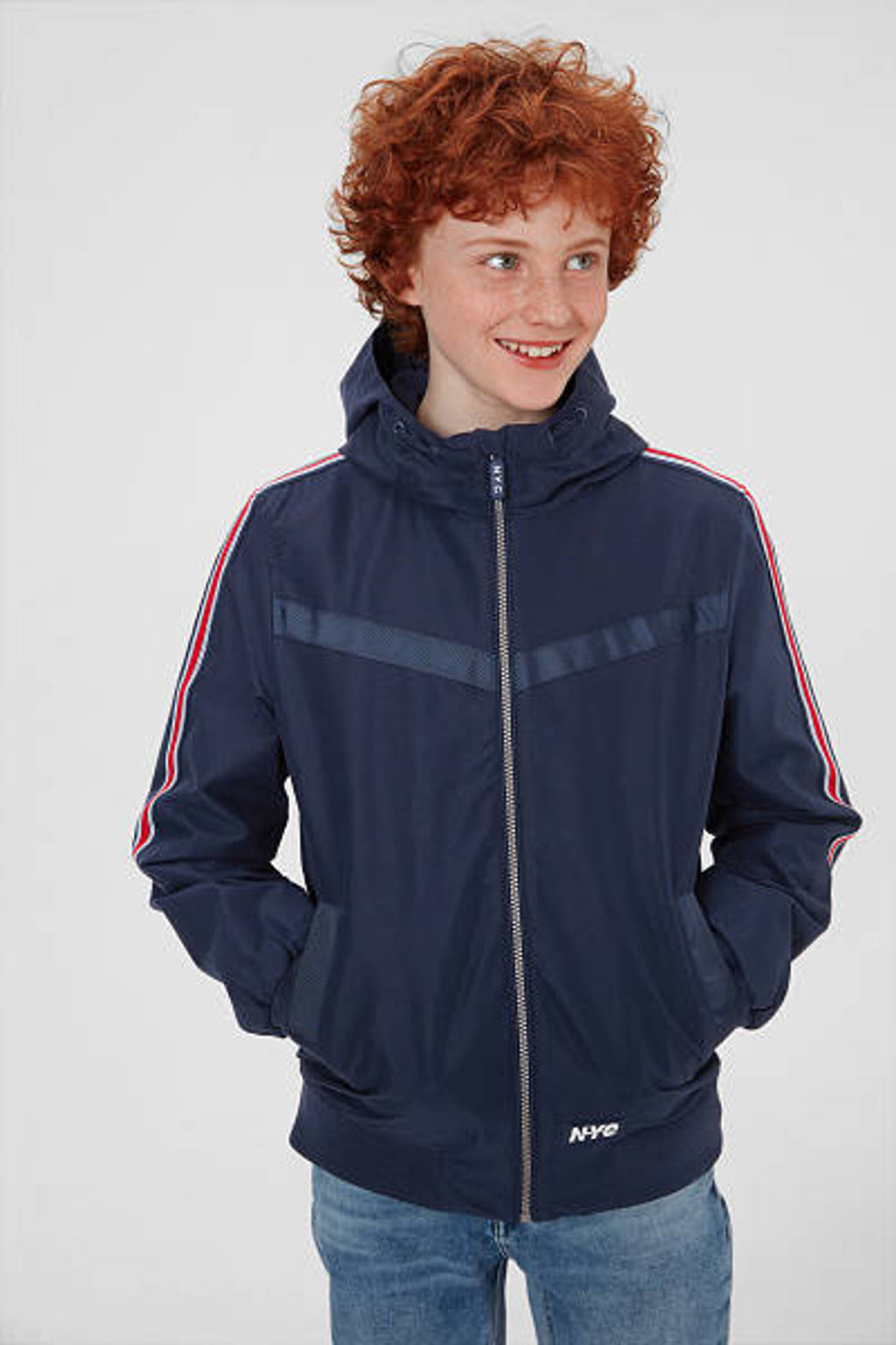 C&A zomerjas met contrastbies donkerblauw/rood/wit, Donkerblauw/rood/wit