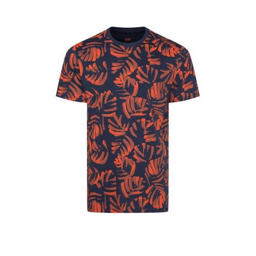 WE Fashion T-shirt met bladprint donkerblauw/rood
