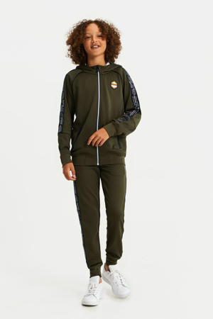 vest met contrastbies army groen/zwart/wit