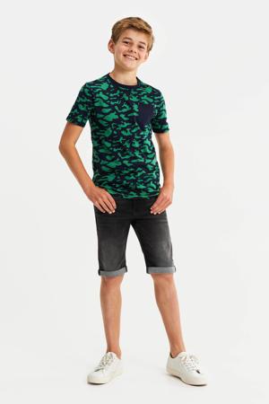 regular fit T-shirt met camouflageprint donkerblauw/groen