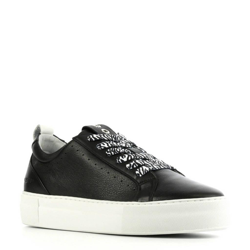 Red Rag 74308   leren sneakers zwart, Zwart