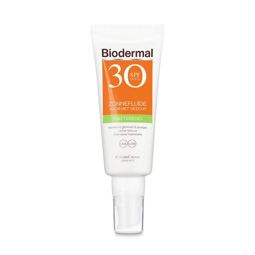 Biodermal Zonnebrand  Matterende Zonnefluïde voor het gezicht SPF 30