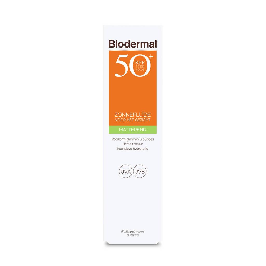 Biodermal Zonnebrand Matterende Zonnefluïde voor het gezicht SPF 50