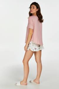 Hunkemöller pyjama Team Bride roze/wit, Roze