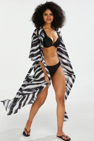 kimono met zebra print zwart