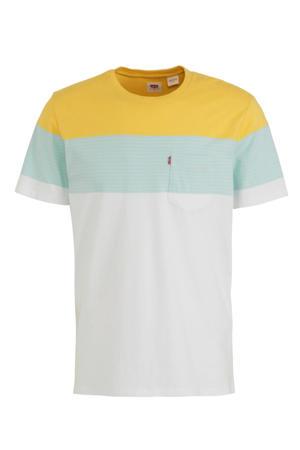 T-shirt wit/mintgroen/geel