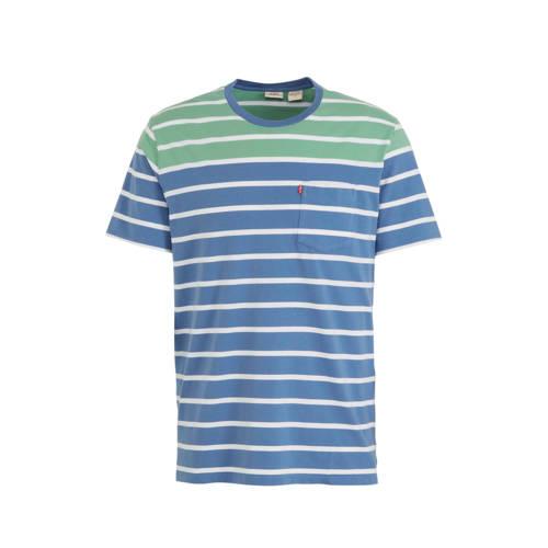 Levi's gestreept T-shirt blauw/groen/wit