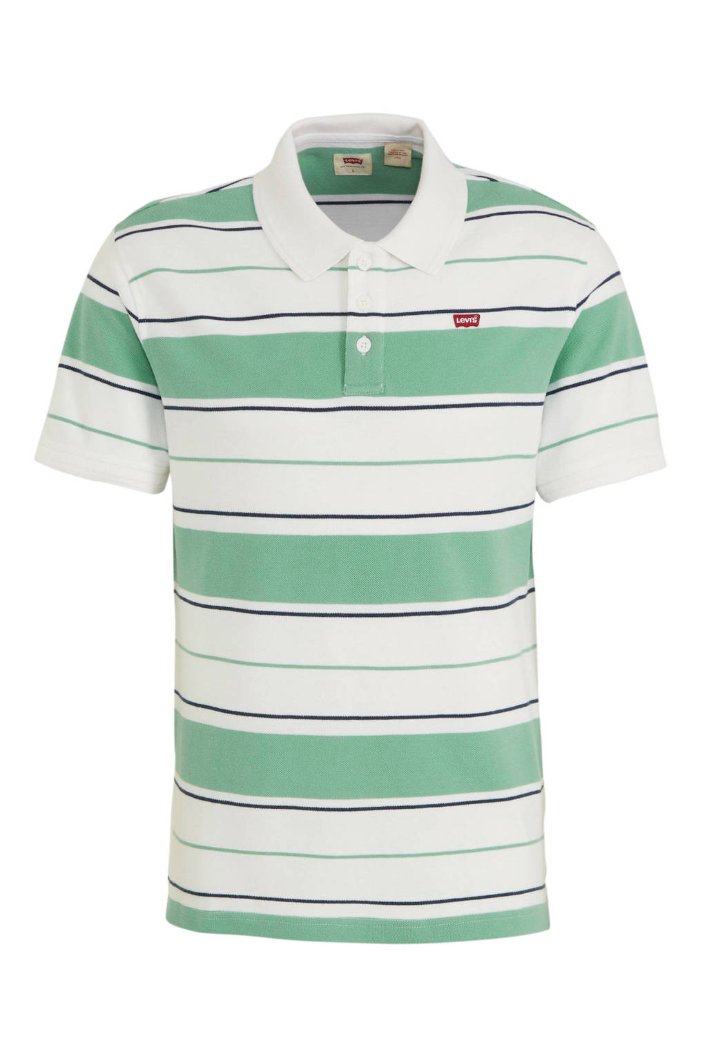 Levi's gestreepte regular fit polo wit/groen, Wit/groen