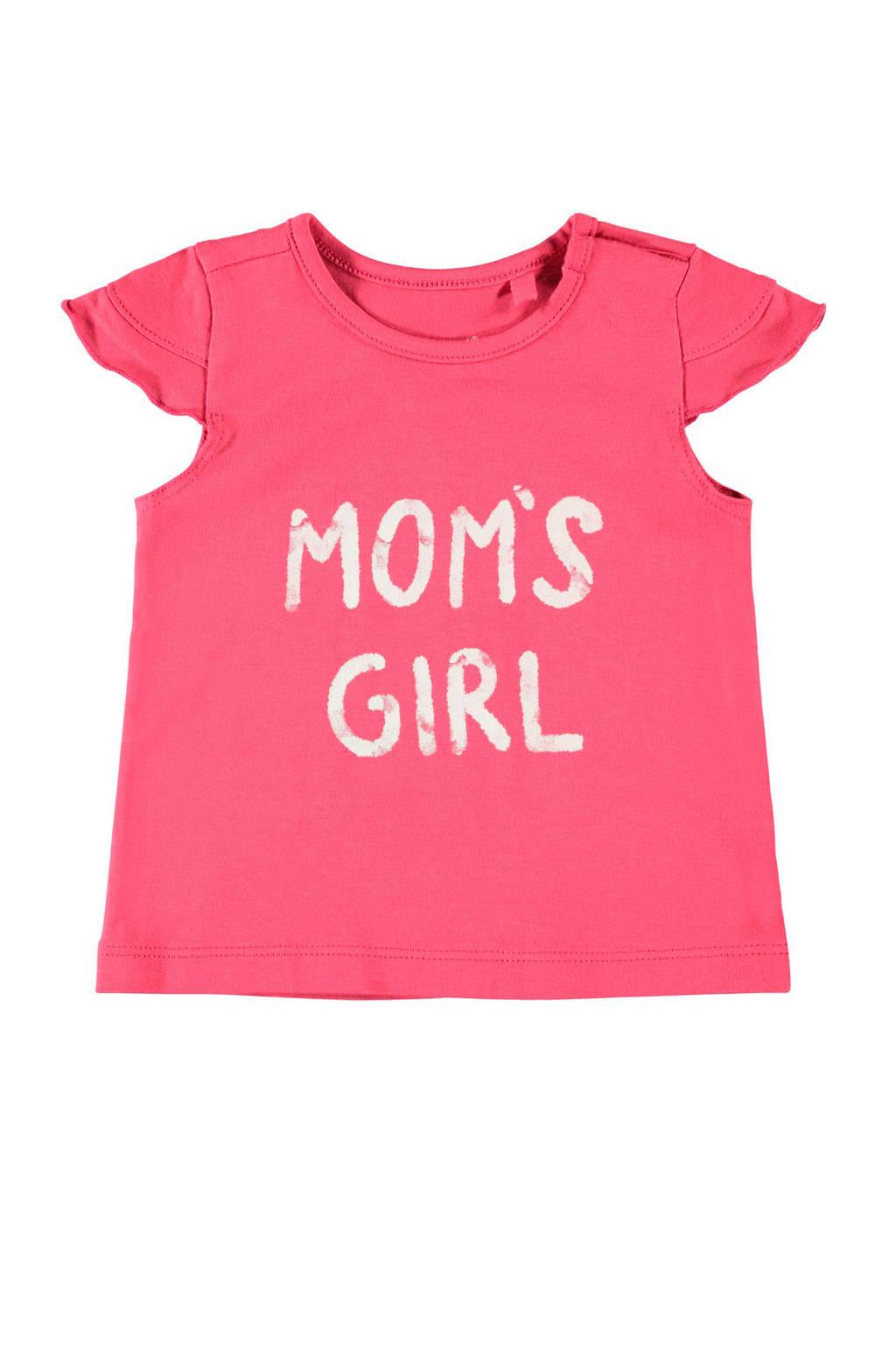 NAME IT BABY T-shirt Hansine met biologisch katoen roze, Roze