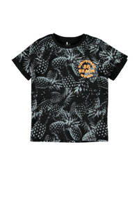 NAME IT KIDS T-shirt Hunter met biologisch katoen zwart/oranje/grijs, Zwart/oranje/grijs