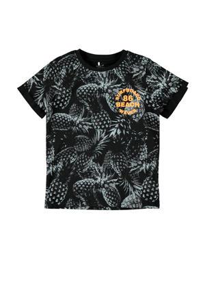 T-shirt Hunter met biologisch katoen zwart/oranje/grijs