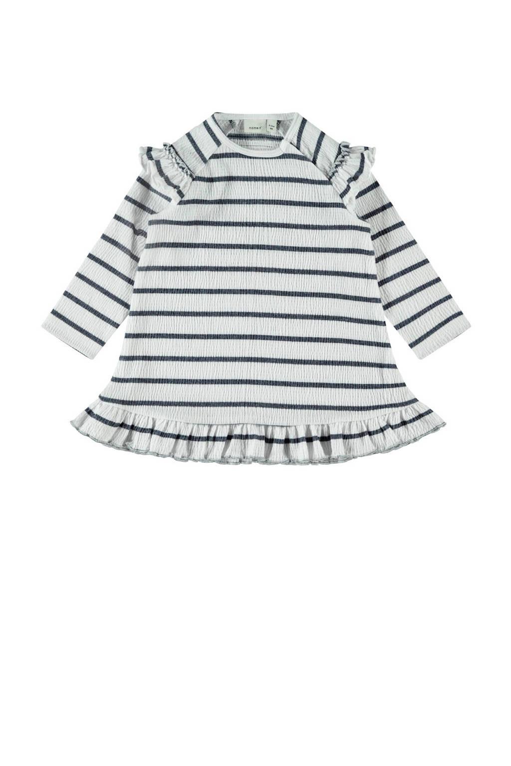 NAME IT BABY gestreepte jersey jurk Hollie met biologisch katoen wit/donkerblauw, Wit/donkerblauw
