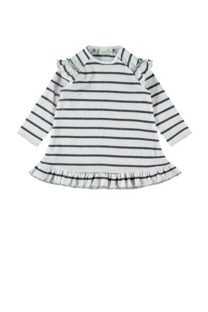 gestreepte jersey jurk Hollie met biologisch katoen wit/donkerblauw