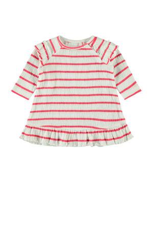 gestreepte baby jurk Hollie met biologisch katoen wit/rood