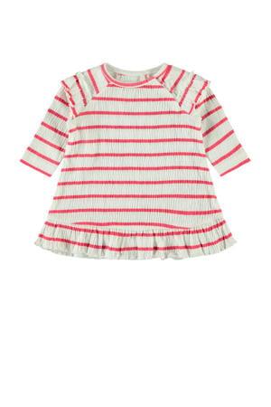 gestreepte jersey jurk Hollie met biologisch katoen wit/rood