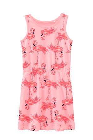 jersey jurk Vigga van biologisch katoen roze/zwart