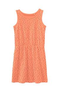 NAME IT KIDS jersey jurk Vigga van biologisch katoen oranje/zwart, Oranje/zwart