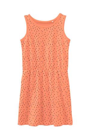 jersey jurk Vigga van biologisch katoen oranje/zwart