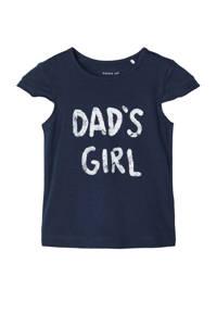 NAME IT BABY baby T-shirt Hansine met biologisch katoen donkerblauw/wit, Donkerblauw/wit