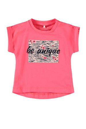 baby T-shirt Jalin met biologisch katoen roze/zwart