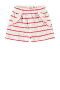 NAME IT BABY baby gestreepte short Hollie met biologisch katoen wit/rood, Wit/rood