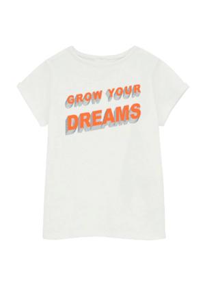 T-shirt Hellen met biologisch katoen wit/oranje