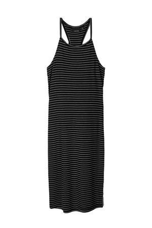 gestreepte jurk Jily zwart/wit