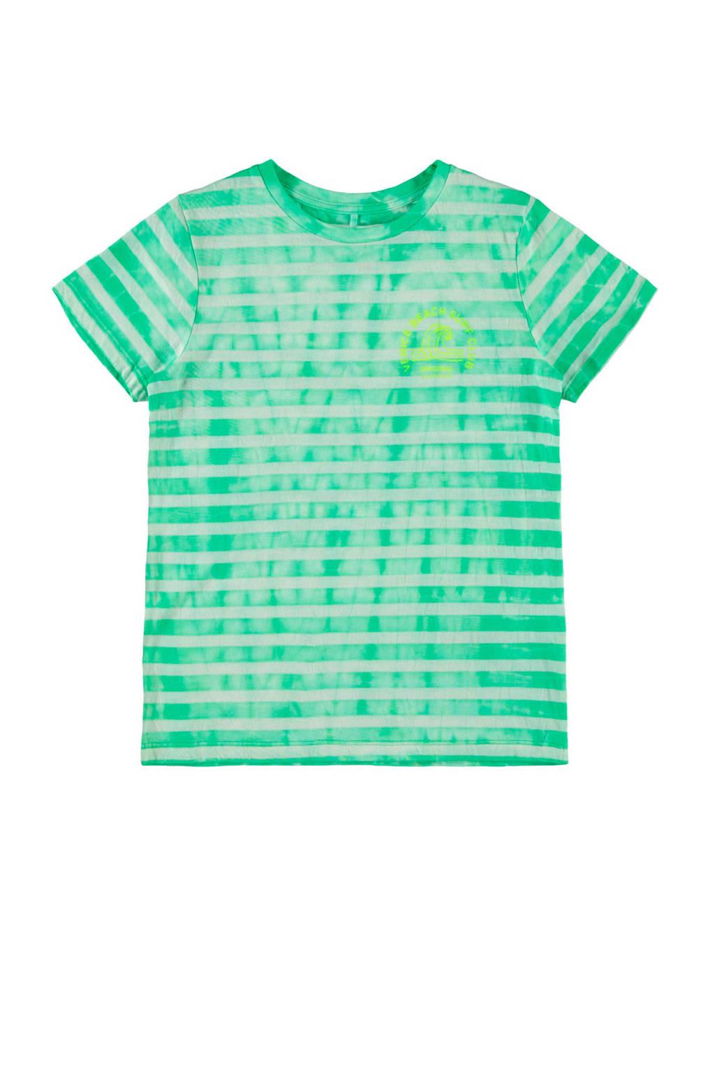 NAME IT KIDS gestreept T-shirt Jenke met biologisch katoen groen/wit, Groen/wit