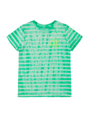 gestreept T-shirt Jenke met biologisch katoen groen/wit