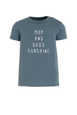 baby T-shirt Jepun met biologisch katoen grijsblauw/wit