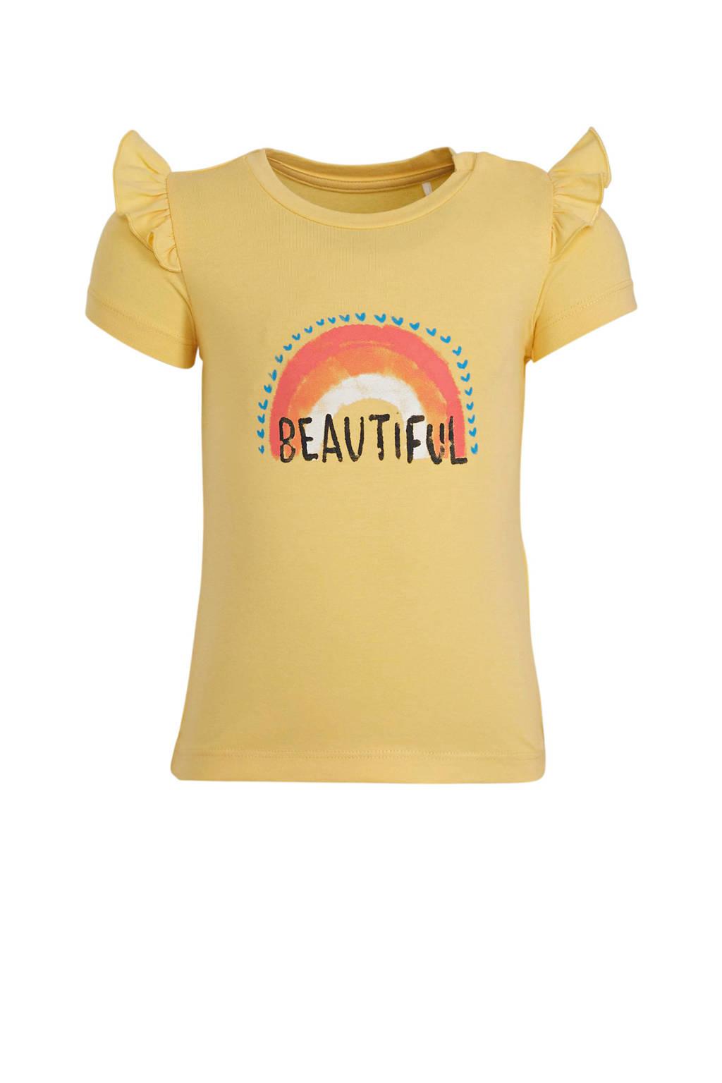 NAME IT BABY baby T-shirt Hilda met biologisch katoen geel/blauw/roze, Geel/blauw/roze