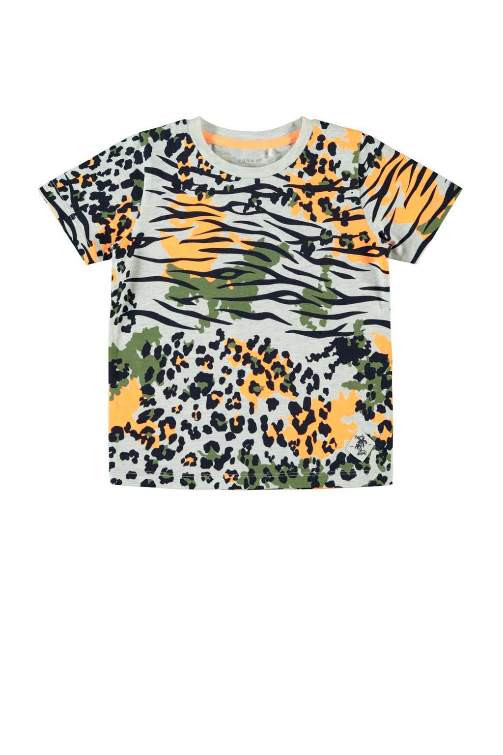 NAME IT MINI T-shirt Jax met biologisch katoen wit/zwart/oranje, Wit/zwart/oranje